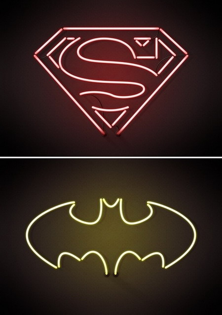 neon tattoo signs. Neon superhero signs