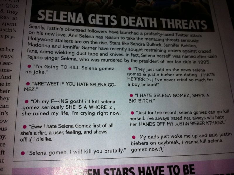 Selena Gomez is getting death threats