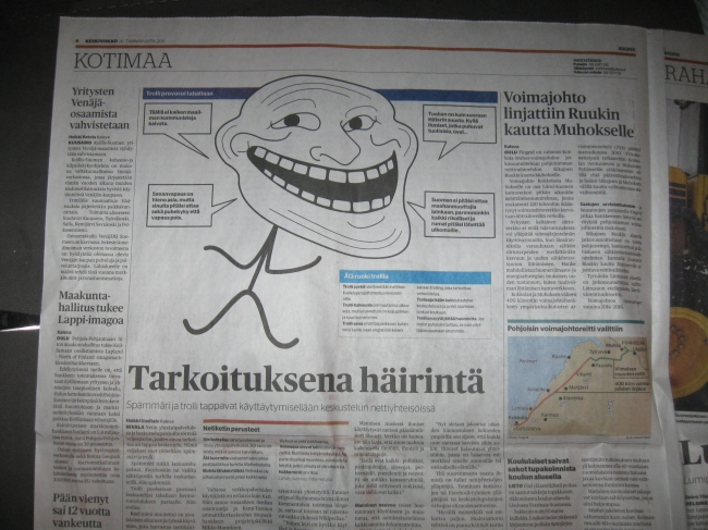 Trollface in the newspaper