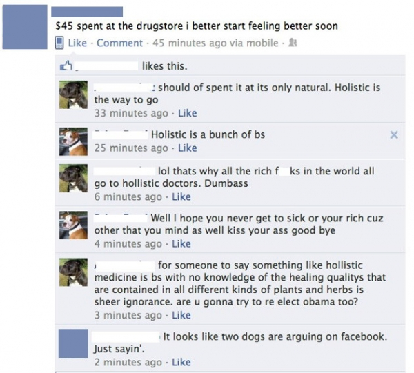 Dogs arguing on Facebook
