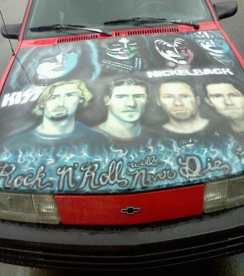 Nickleback/Kiss car hood art