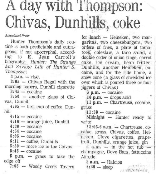 A Day with Thompson: Chivas Dunhills, coke