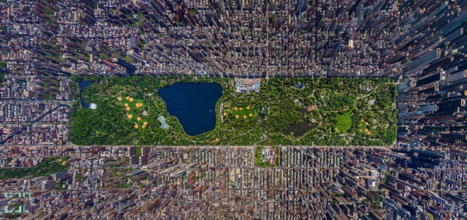 High-res aerial view of Central Park in Manhattan