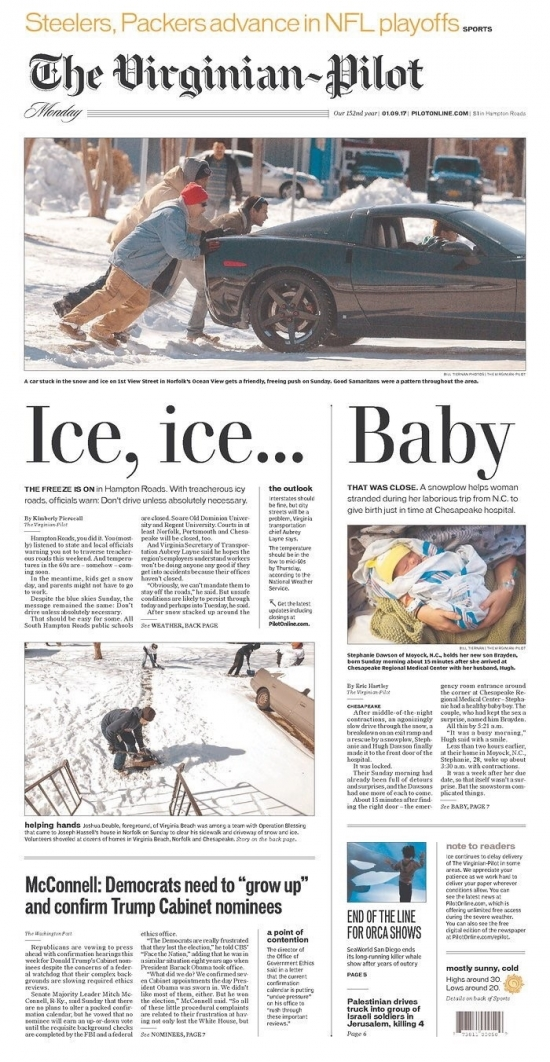 Ice Ice Baby newspaper front page