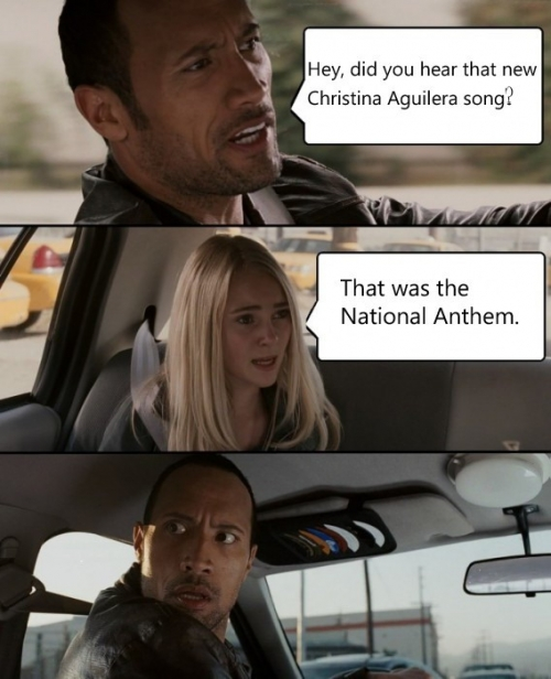 The Rock driving: Christina Aguilera National Anthem
