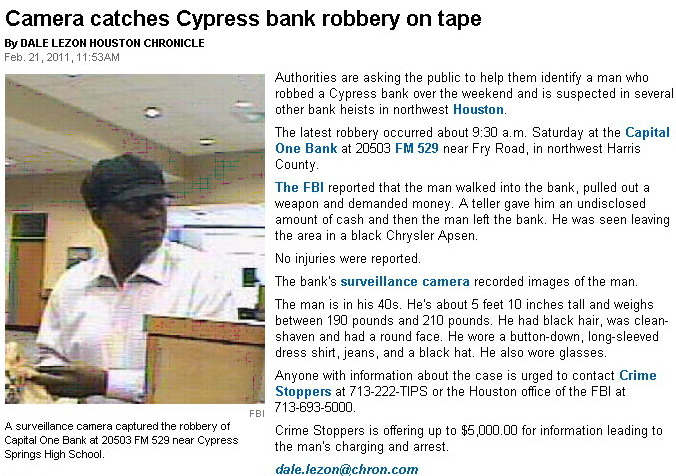 Camera catches Cypress bank robbery on tape