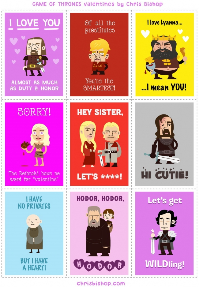 Game of Thrones Valentines Day cards – Small Valentine Cards