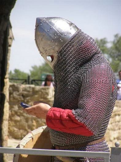 Knight with cell phone