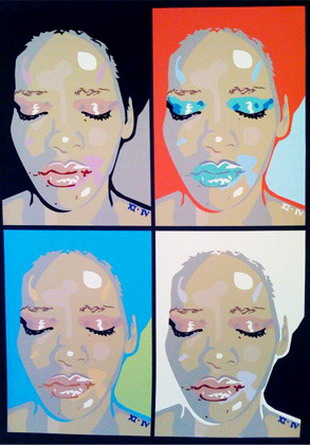 Rihanna bruised Andy Warhol style