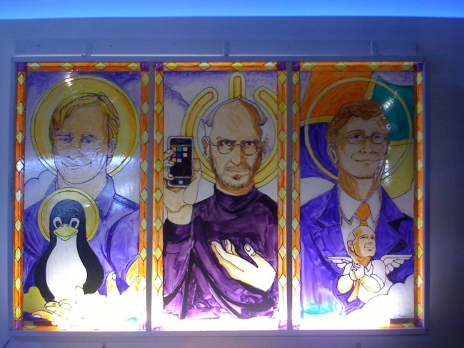 Linus Torvalds, Steve Jobs & Bill Gates stained glass