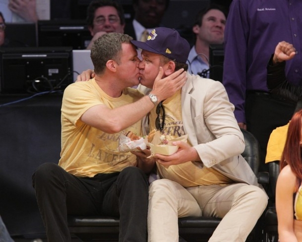 Will Ferrell and John C. Reilly kiss