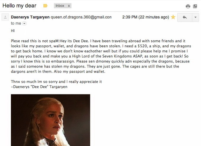 Game of Thrones spam mail