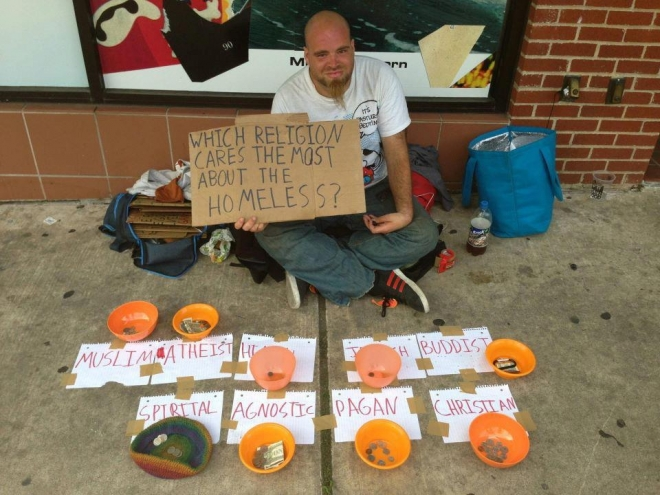 Which religion cares the most about the homeless?