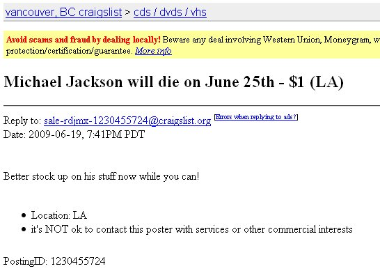 Michael Jackson will die on June 25th