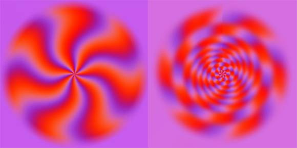 Moving spirals optical illusion