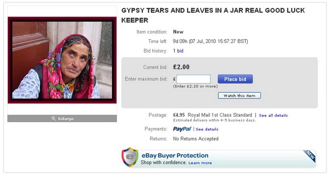 Gypsy tears on eBay/