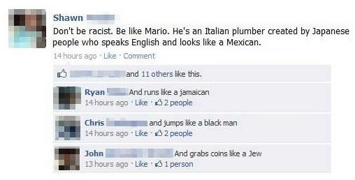 Don't be racist. Be like Mario