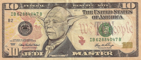 Star Wars - Yoda - Jedi Master dollar bill