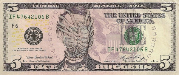 Abraham Lincoln Alien Face Hugger dollar bill