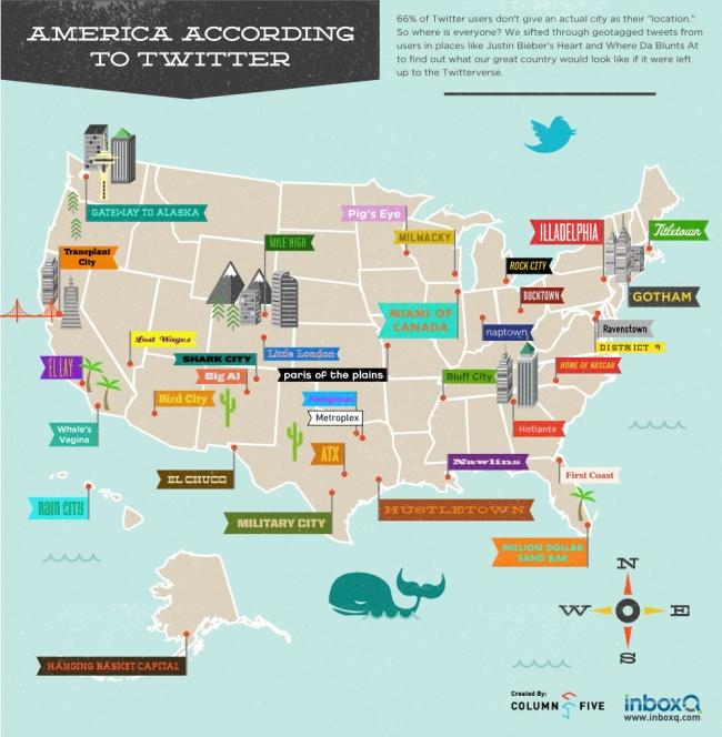 Infographic: US City Names According To Twitter