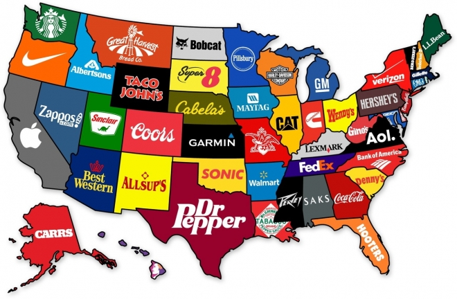 Small Map Of The United States.The United States Of Corporate America