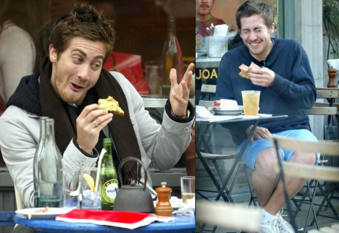 Jake Gyllenhaal eating
