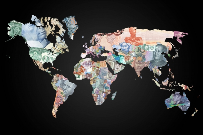 The World Map Of Currencies - Small world map poster