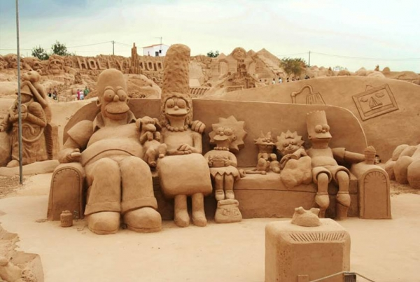 The Simpsons sand sculpture