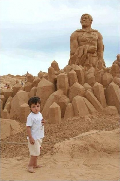Superman sand sculpture