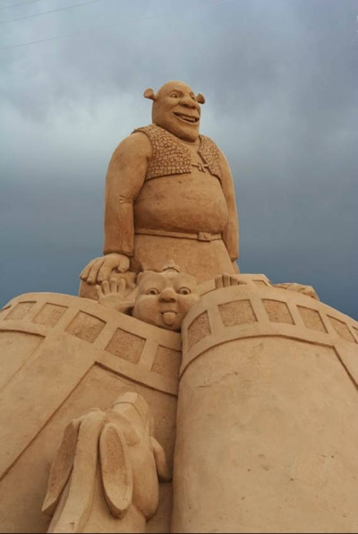 Shrek sand sculpture