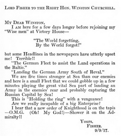 Lord Fisher letter to Winston Churchill 1917