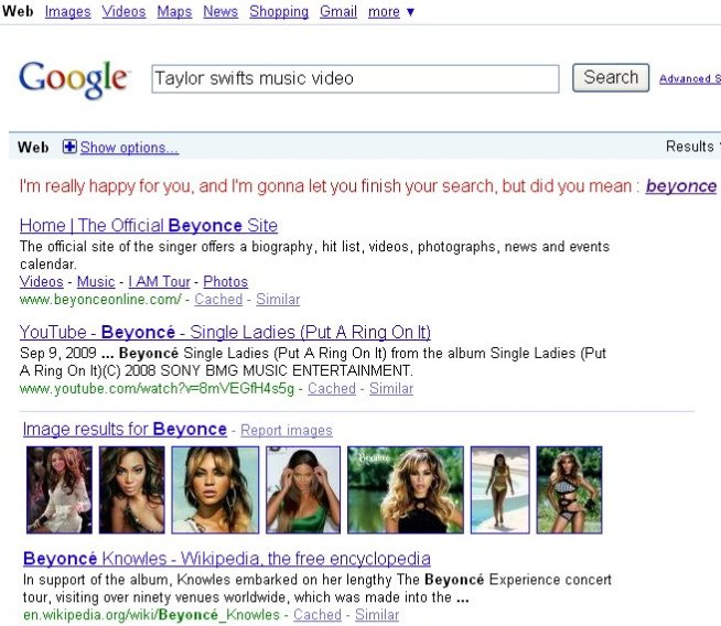 Taylor Swift on Google. Sunday, September 20, 2009