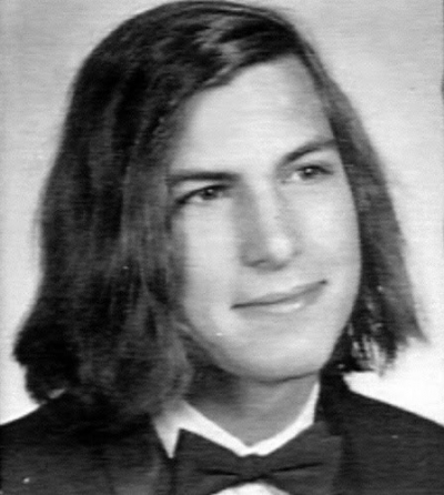Young Steve Jobs long hair yearbook picture