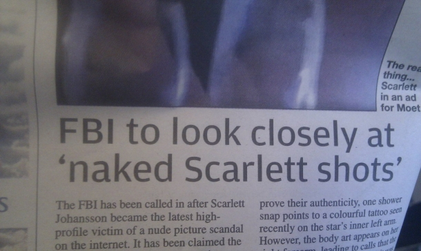 FBI to look closely at naked Scarlett shots