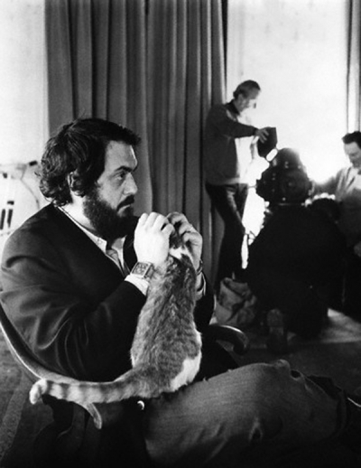 Stanley Kubrick holding a cat
