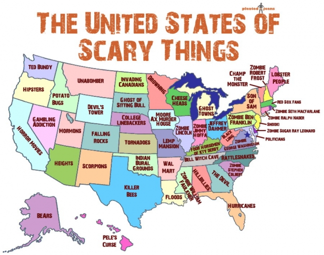 jeff wysaski of pleated jeans has made this map of the us that shows you ve got something to be scared about no matter which state you live in