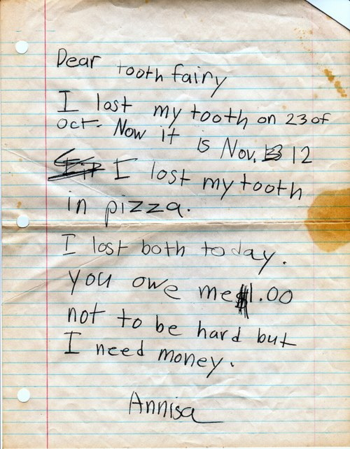 Annisa's letter to The Tooth Fairy