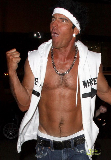 56 Year Old Actor Dennis Quaid Went As A Shirtless Guido To Halloween Party In LA