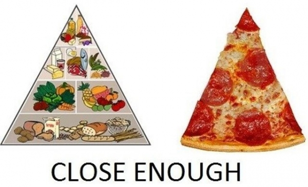food pyramid and pizza slice