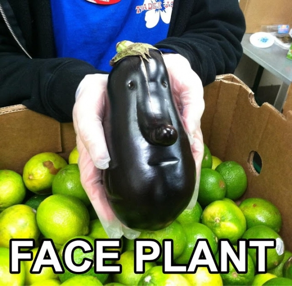 Eggplant with a face