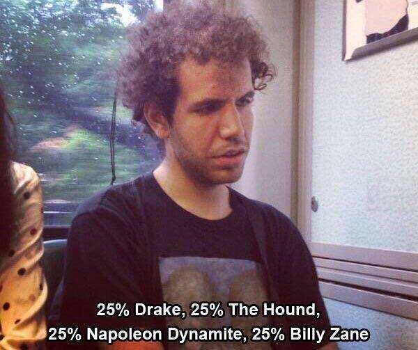 25% Drake, 25% The Hound, 25% Napoleon Dynamite, 25% Billy Zane