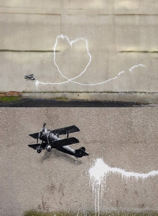 Banksy - airplane stencil graffiti