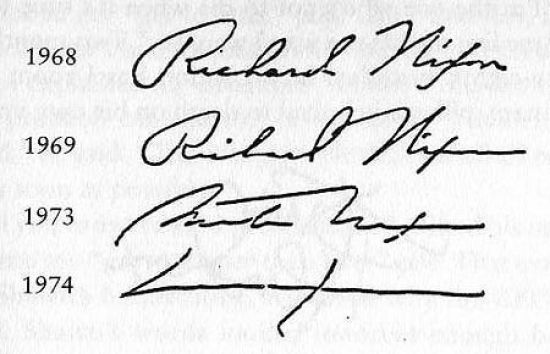 The evolution of Nixon's signature from 1969 to 1974